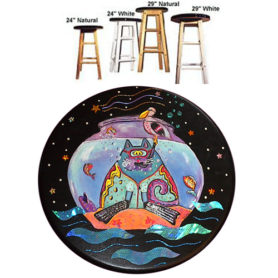 Whimsical cat with snorkel in a fishbowl stool