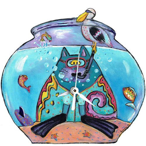 Whimsical cat with snorkel in a fishbowl clock