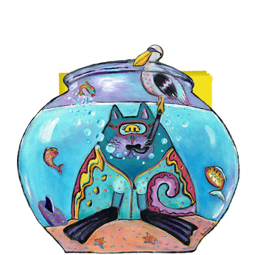 Whimsical cat with snorkel in a fishbowl napkin holder