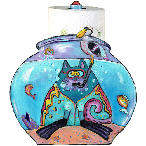Whimsical cat with snorkel in a fishbowl paper towel holder