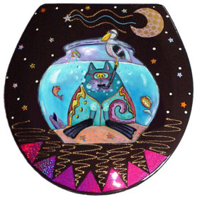 Whimsical cat with snorkel in a fishbowl toilet seat