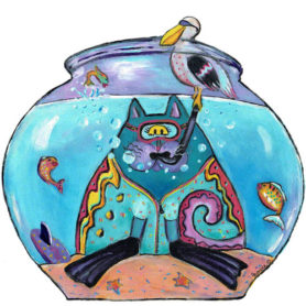 Whimsical cat with snorkel in a fishbowl wall art