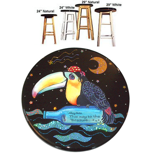 Whimsical toucan pirate with bottle stool