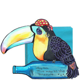 Whimsical toucan pirate with bottle napkin holder