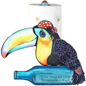 Whimsical toucan pirate with bottle paper towel holder