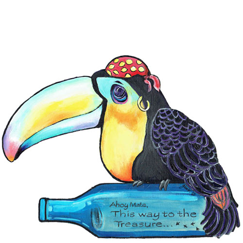 Whimsical toucan pirate with bottle wall art