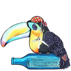 Whimsical toucan pirate with bottle clock