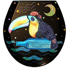 Whimsical toucan pirate with bottle toilet seat