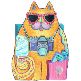 Whimsical yellow cat with ice cream napkin holder