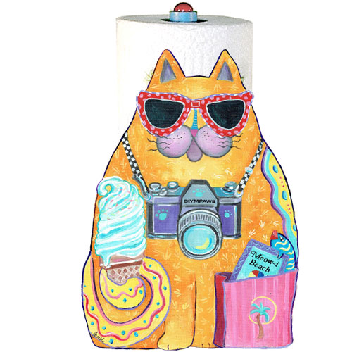 Whimsical yellow cat with ice cream paper towel holder