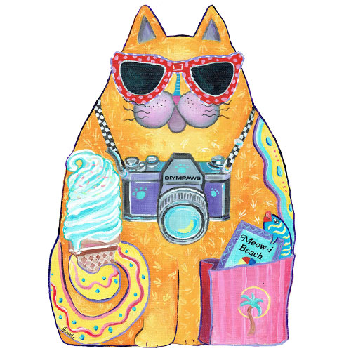 Whimsical yellow cat with ice cream wall art