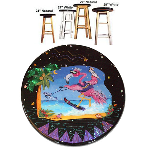 Whimsical Skiing Flamingo with Dolphin Stool