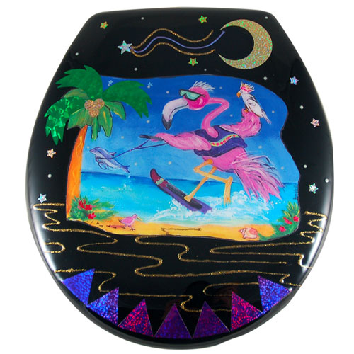 Whimsical Skiing Flamingo with Dolphin Paper Toilet Seat