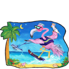 Whimsical Skiing Flamingo with Dolphin Paper Wall Art