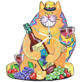 Whimsical Wine Cat Clock