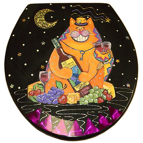 Whimsical Wine Cat Toilet Seat
