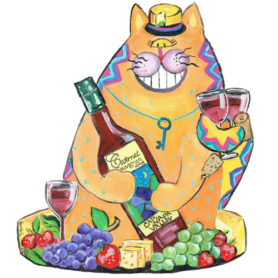 Whimsical Wine Cat Wall Art
